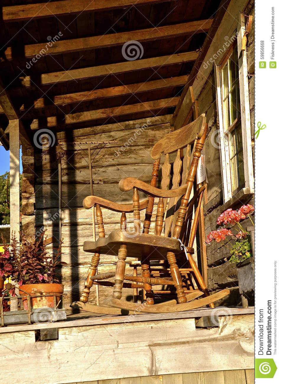 Download Rocking Chair On Cabin Entryway Stock Photo - Image of primitive rest 59856668 & Rocking Chair On Cabin Entryway Stock Photo - Image of primitive ...