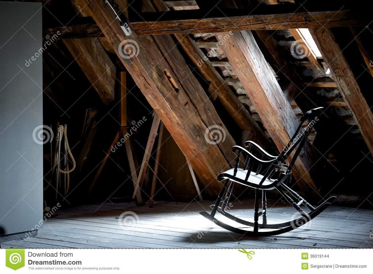 Scary Rocking Chair ~ Rocking chair stock photo image of creepy dust