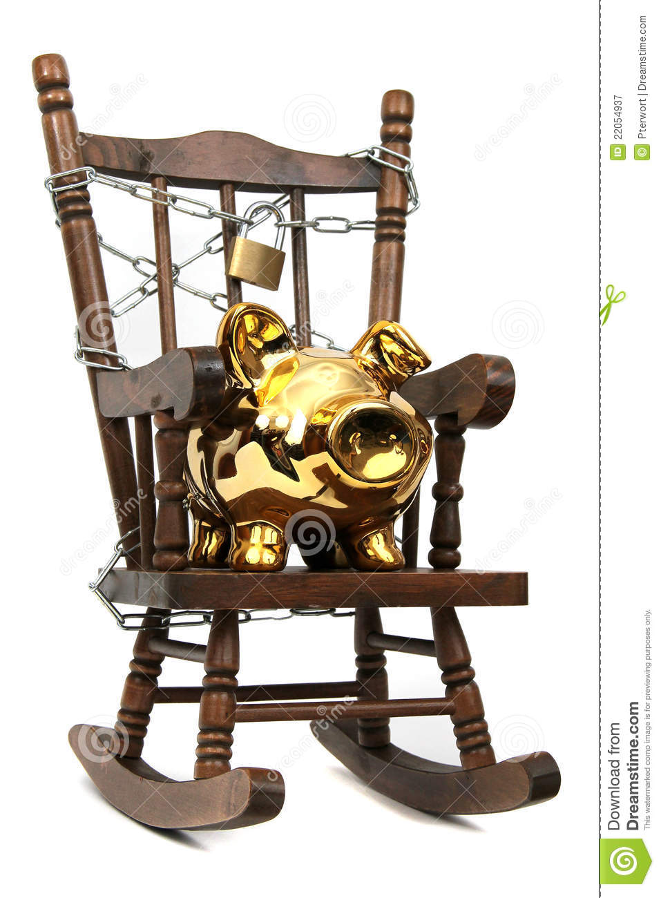 Rocking chair and piggy bank captured with chain a