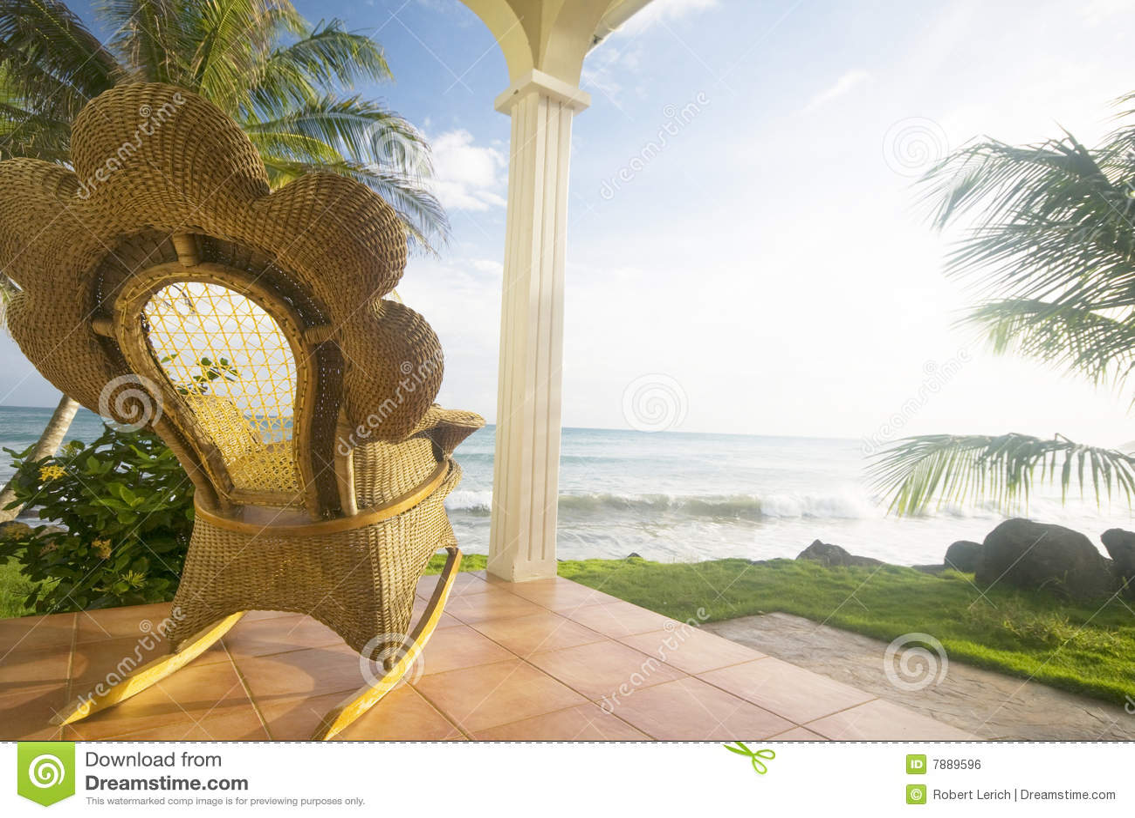 Handmade wicker rocking chair on patio luxury resort hotel caribbean ...