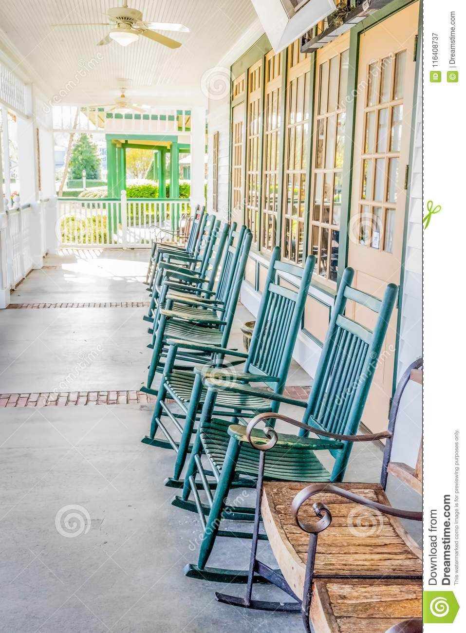 Remarkable Rocking Chair Row Stock Image Image Of Elderly Southern Gmtry Best Dining Table And Chair Ideas Images Gmtryco