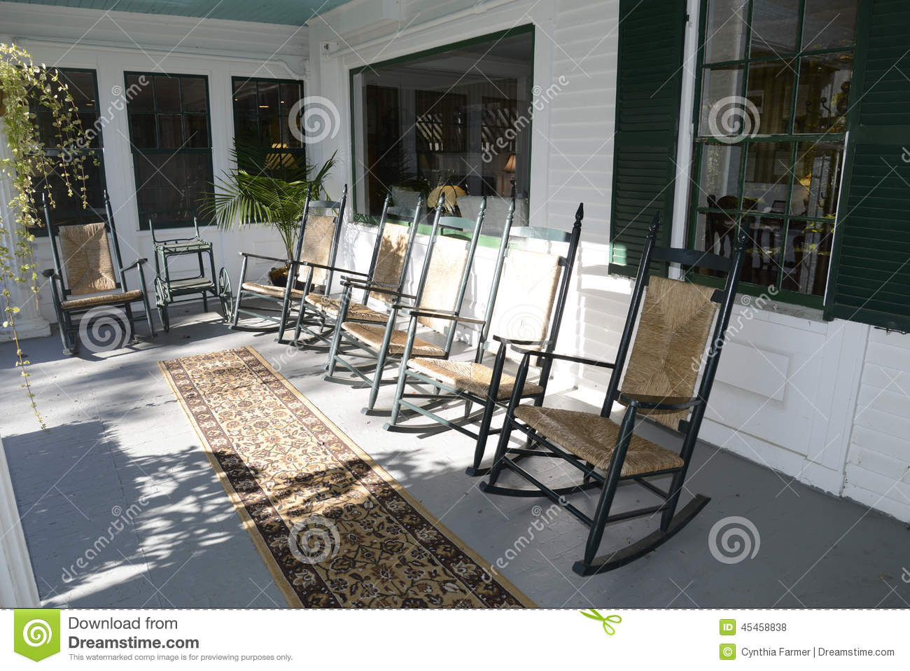 Rocking Chairs On An Outdoor Porch Stock Photo Image