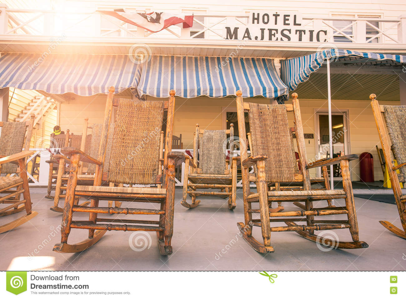 Enjoyable Rocking Chairs On Resort Hotel Porch Editorial Photo Image Ibusinesslaw Wood Chair Design Ideas Ibusinesslaworg