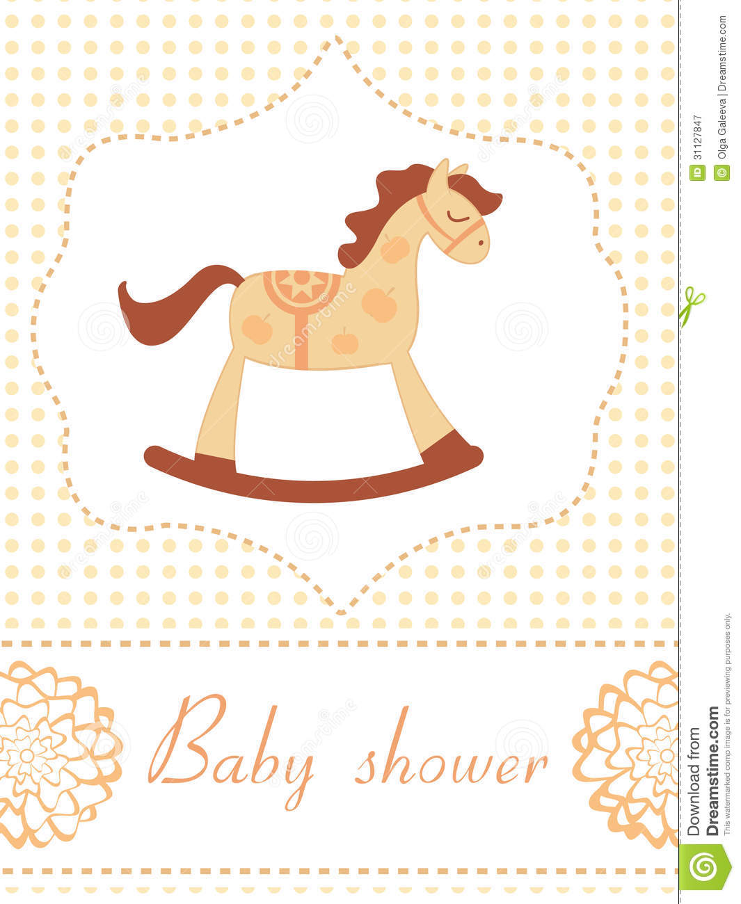 Rocking Horse Baby Shower Card Royalty Free Stock Photography - Image ...