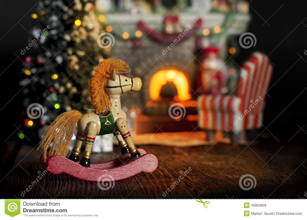 Rocking Horse Christmas Fireplace Stock Photo - Image: 45803908