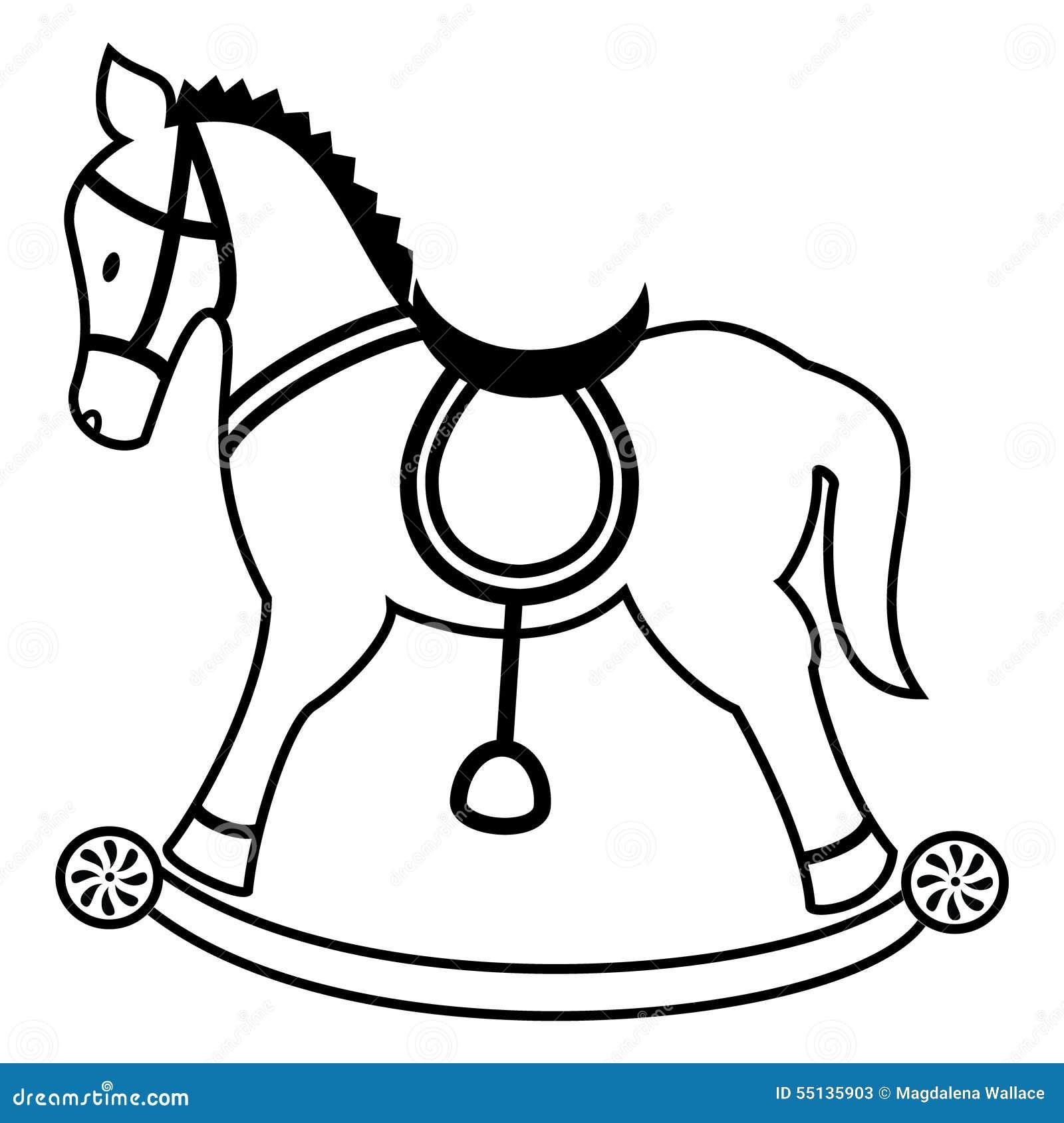 Cavallino A Dondolo Disegno.Rocking Horse Plain In Black And White Stock Vector Illustration