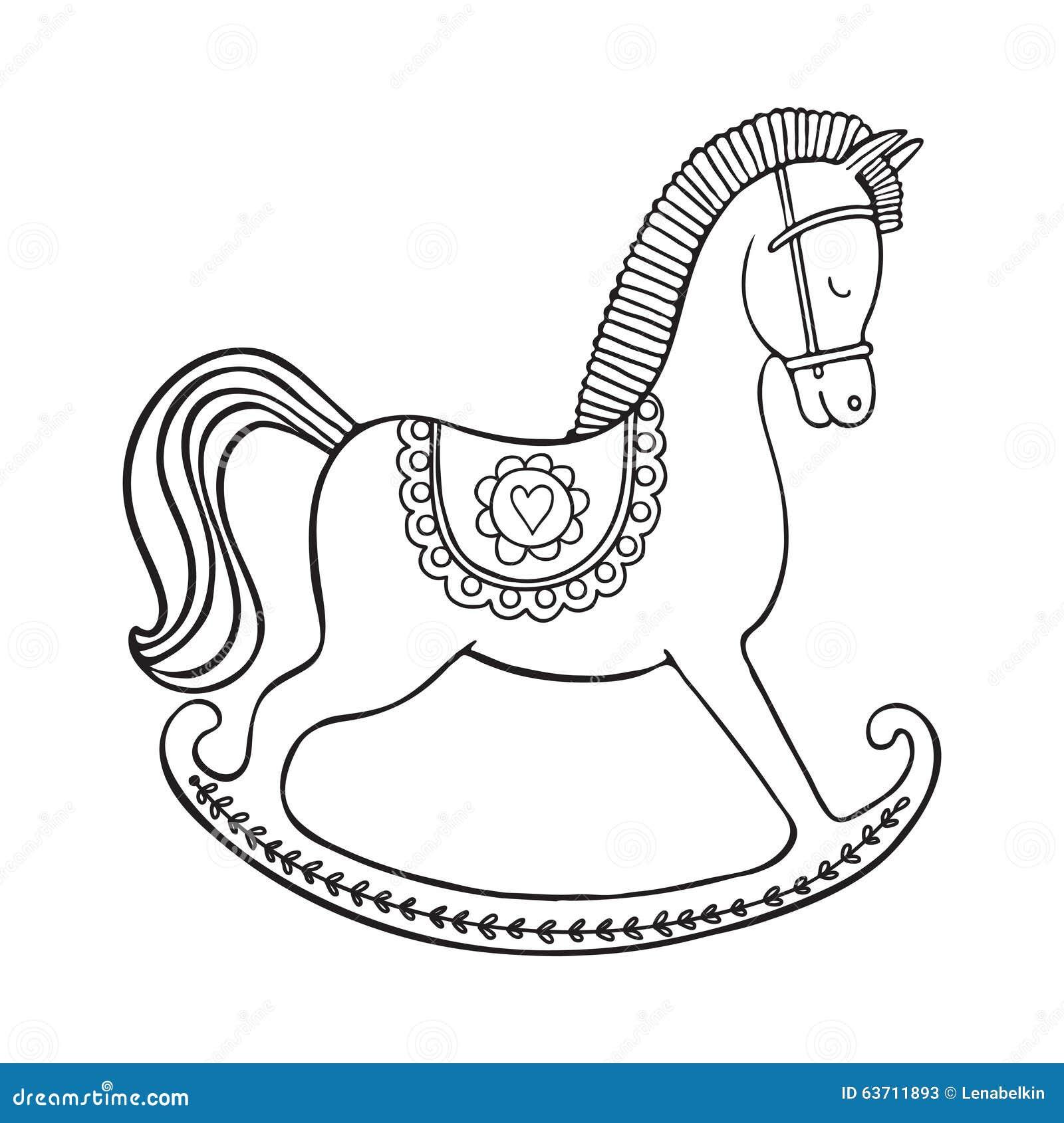 Cavallino A Dondolo Disegno.Rocking Horse On White Background Stock Vector Illustration Of