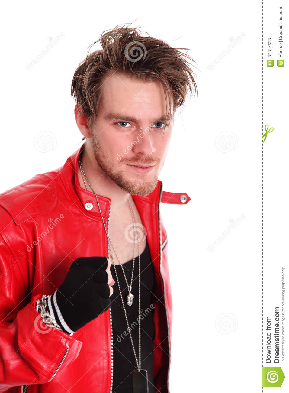 Rocking Man In Leather Jacket Stock Image Image Of Attractive