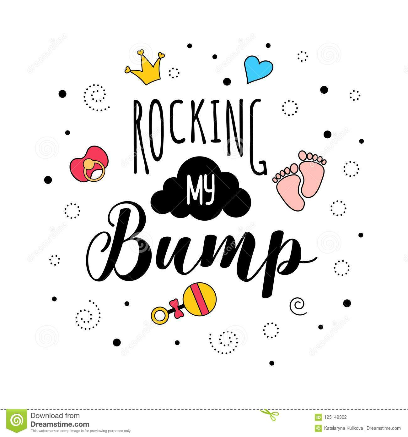 Rocking My Bamp Mother Pregnancy Quote Lettering Stock Vector