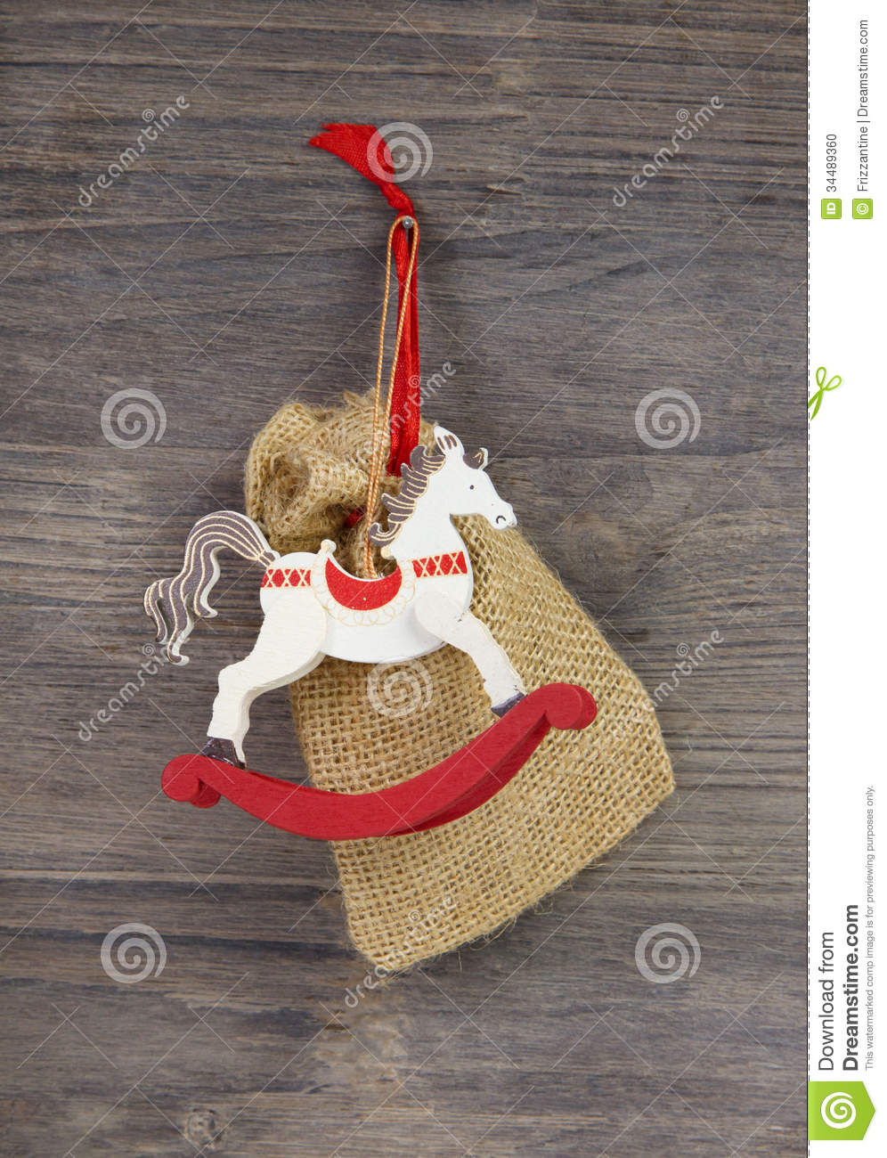 Rocking or wooden toy horse red and white christmas decoration stock photo image 34489360 for Photo decoration