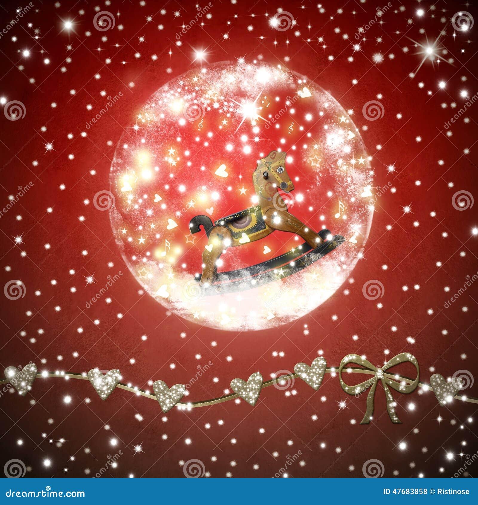 Image Brillante De Noel.Rockinghorse A L Interieur De Carte De Noel Brillante De