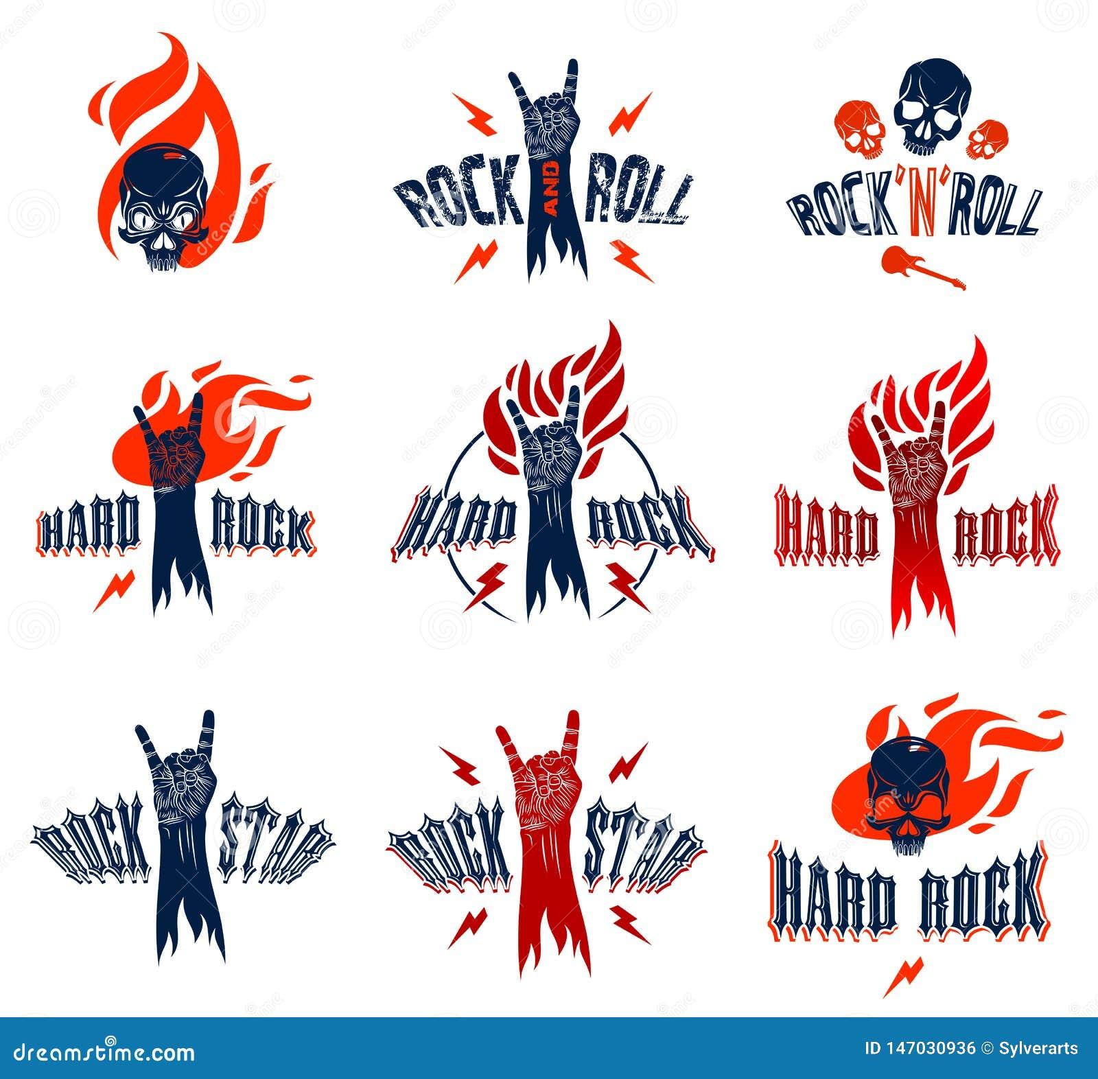 Rockowy ręka znak na ogienia secie, gorący muzyczny rock and roll gest w, koncercie lub klubie płomieni, hard rock festiwalu, wek