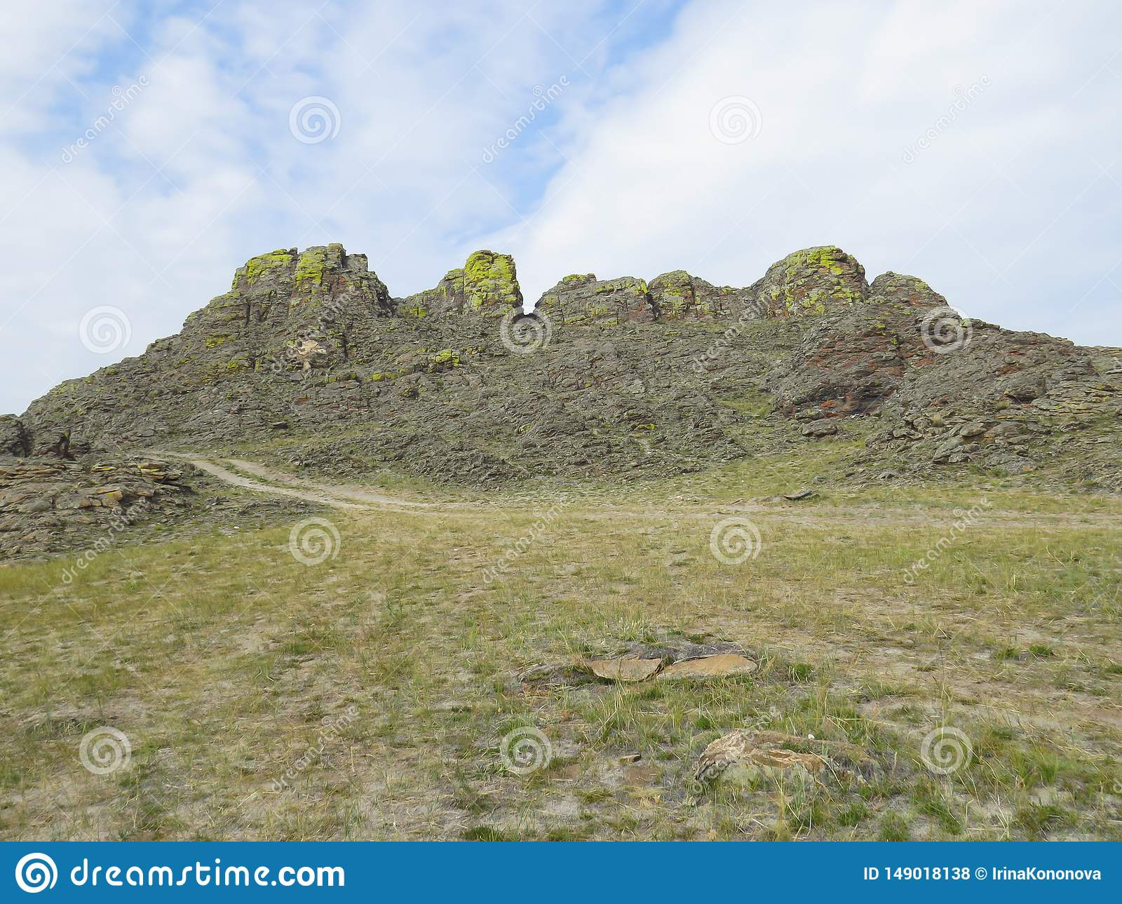 Rocks covered with lichen, in the Castle of Spirits, the place of power of Olkhon island