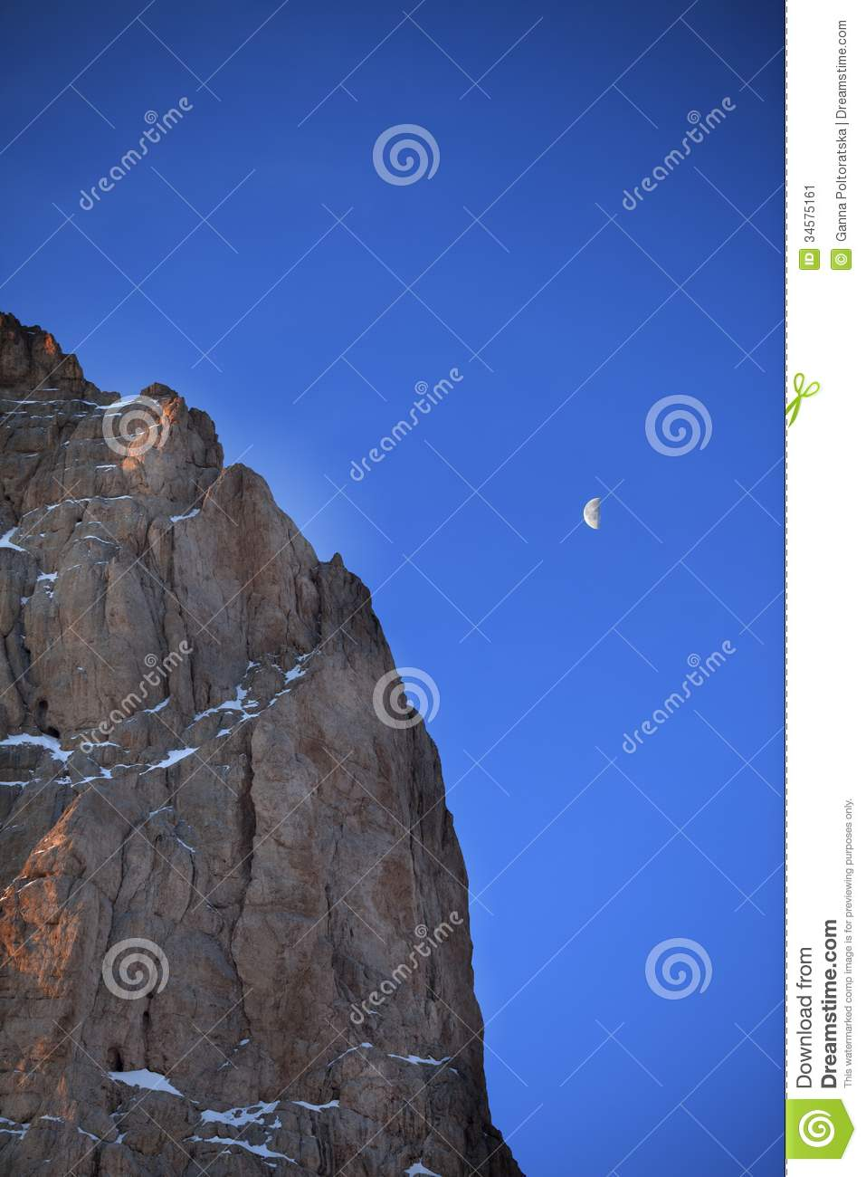 early morning and blue sky with moon  Turkey  Central Taurus Mountains    Early Morning Sky Mountains