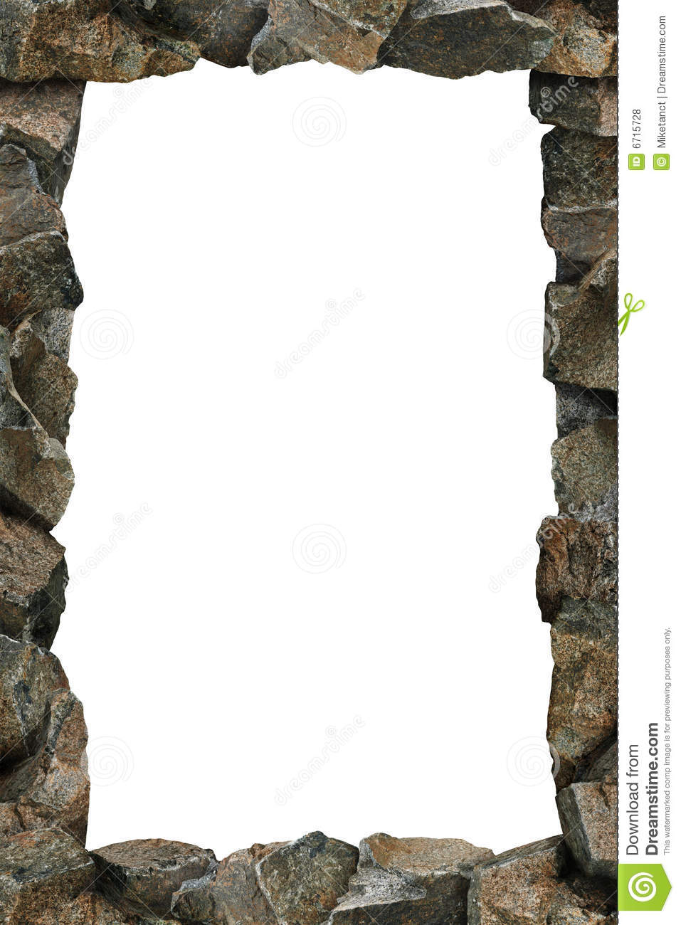 continuous line of rocks forming a frame. Clipping path included for ...
