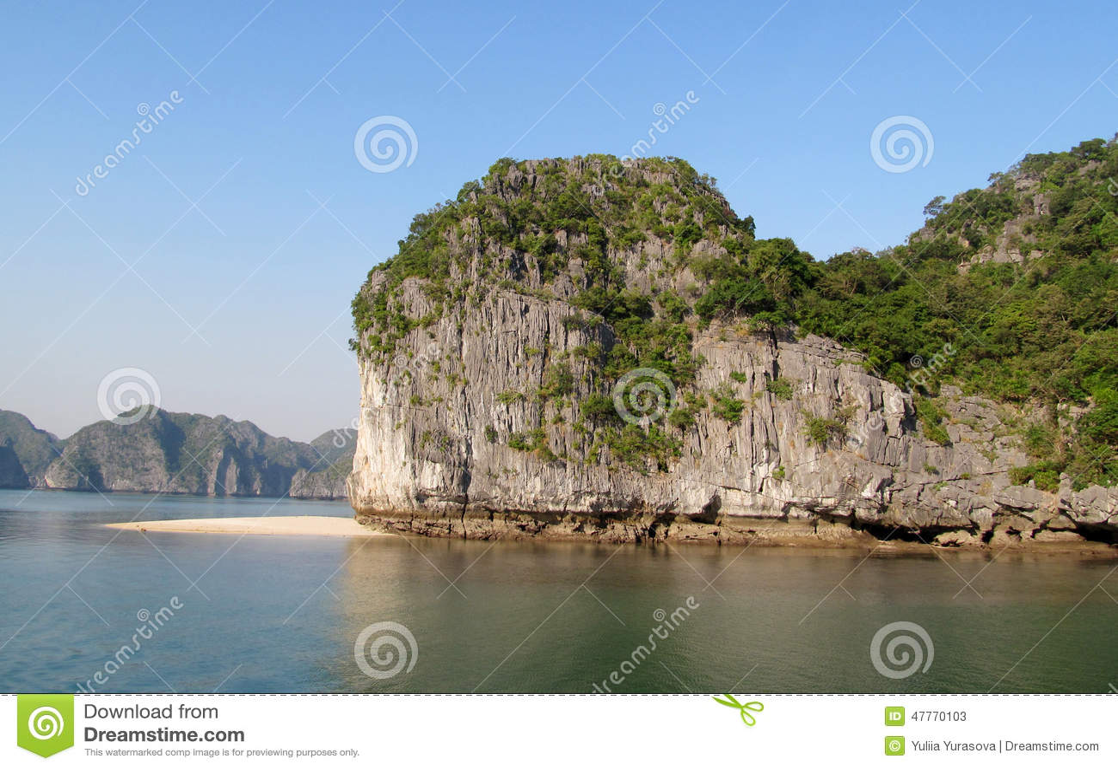 Rocks and islands of Ha Long Bay near Cat Ba island, Vietnam.