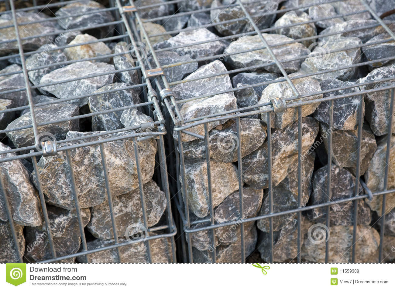 Rocks In A Metal Cage Royalty Free Stock Photos Image