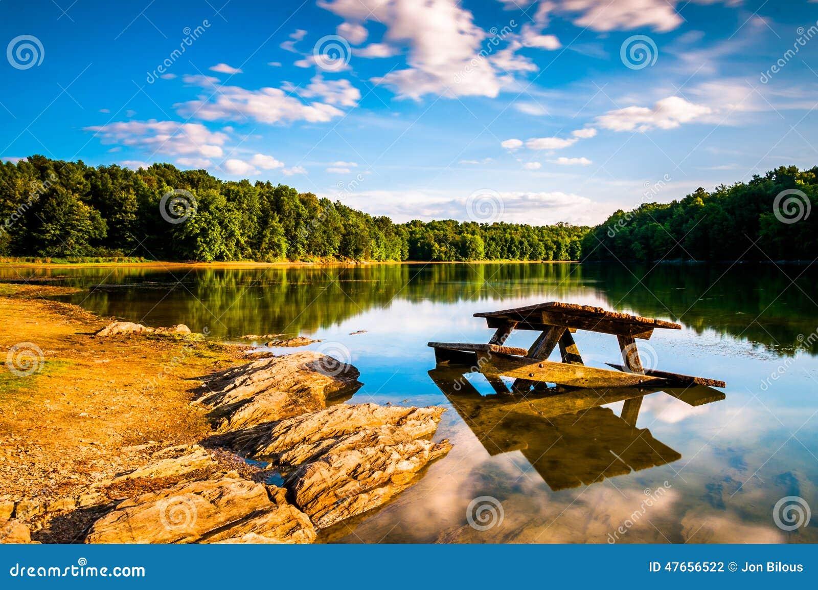 Rocks and a picnic table in Lake Marburg, at Codorus State Park, Pennsylvania.