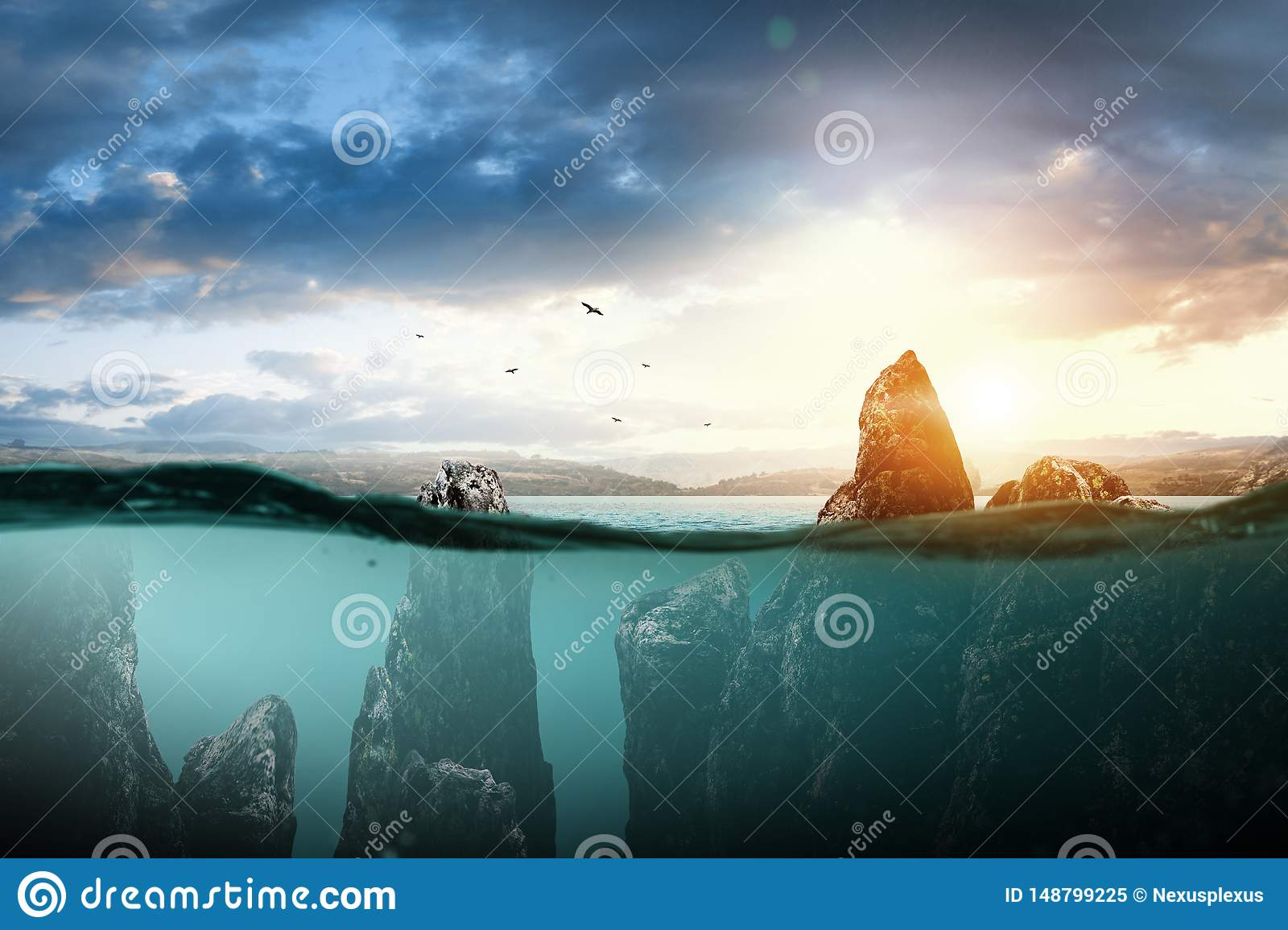 Rocks in the sea, the beauty of nature