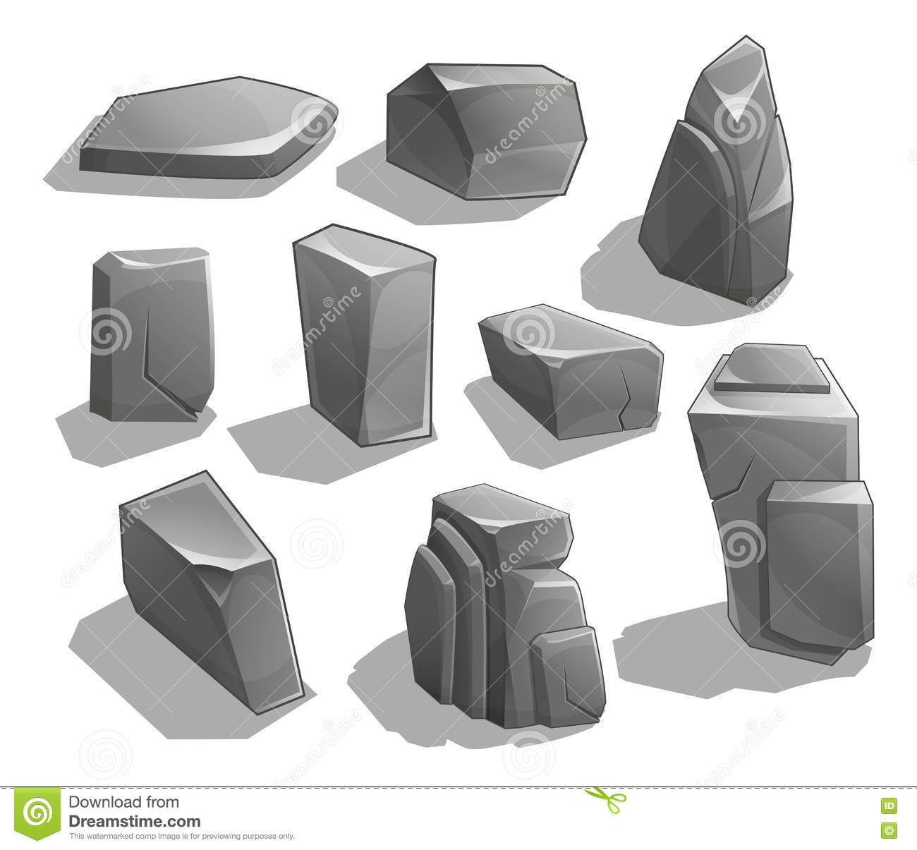 Rocks and stones. Cartoon Stones and rocks in isometric style. Set of different boulders.