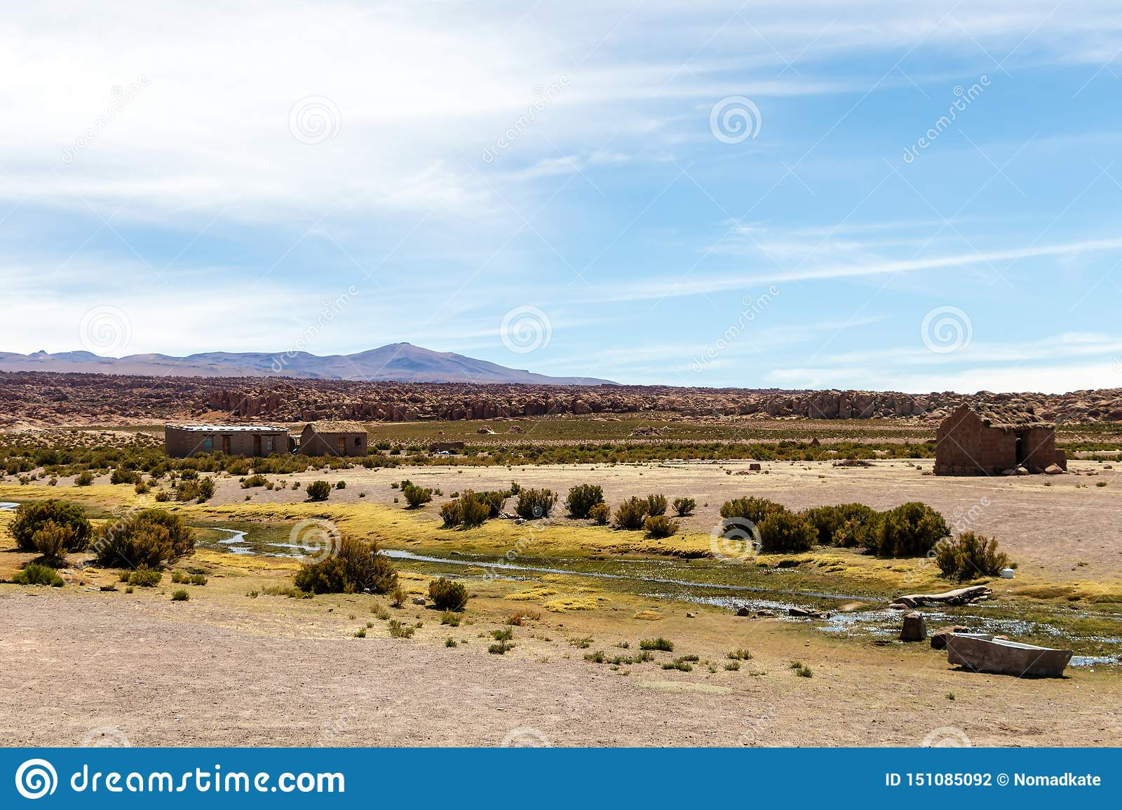 Desert landscapes with mountains in Bolivia at the dry season, dry vegetation is a natural background