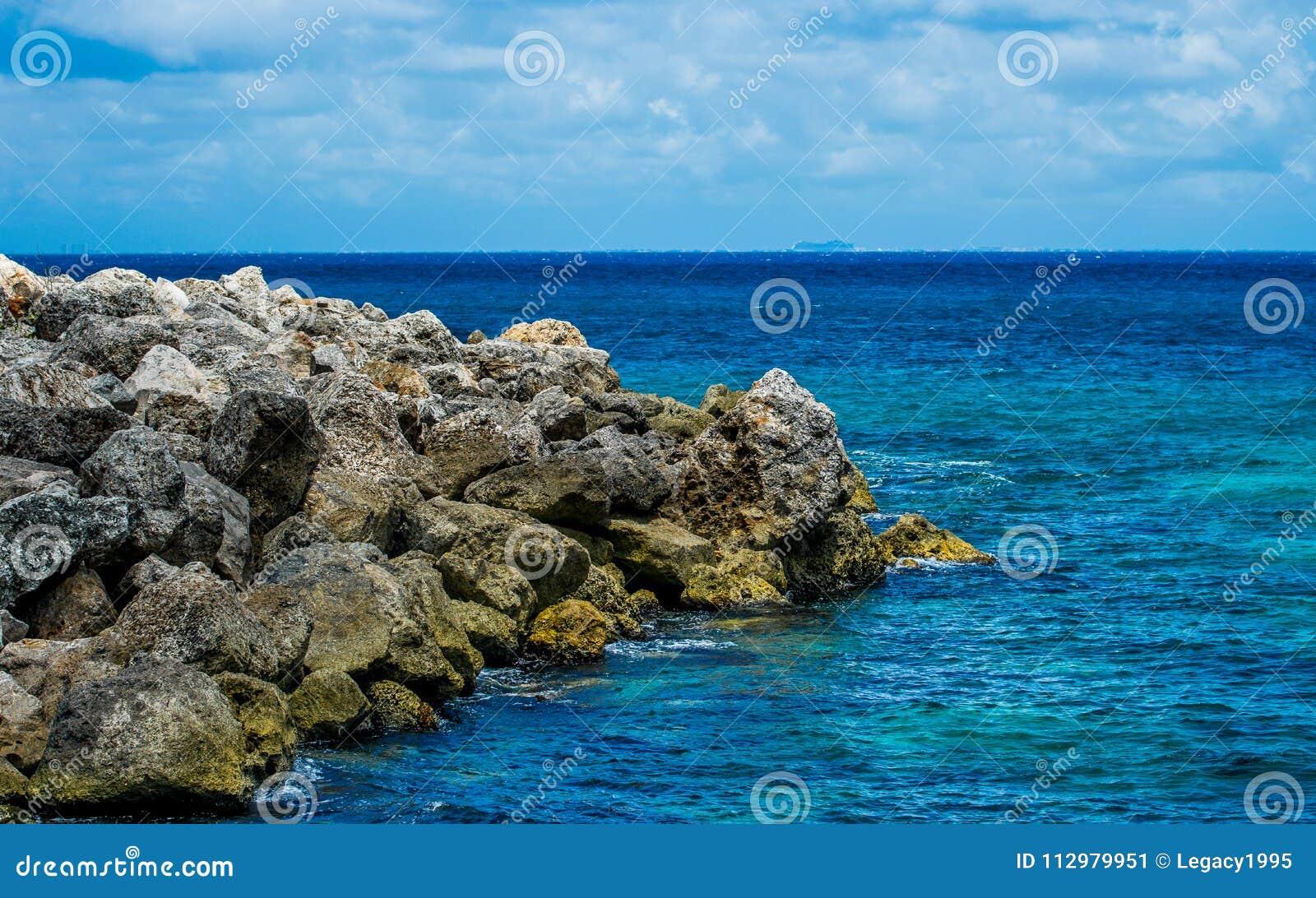 A Rocky Caribbean Coastline in Mexico