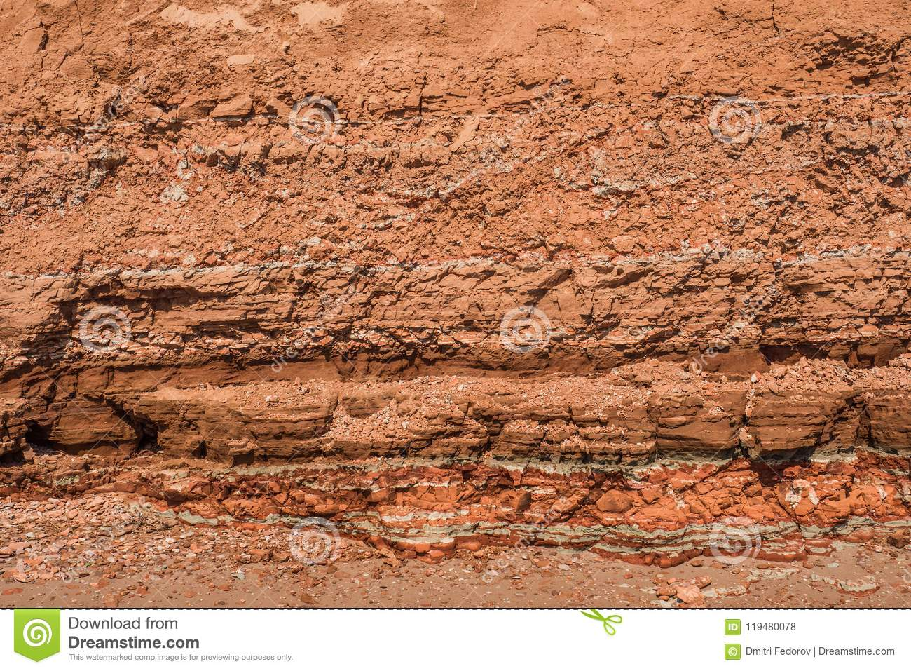 Rocky clay texture on a cliff