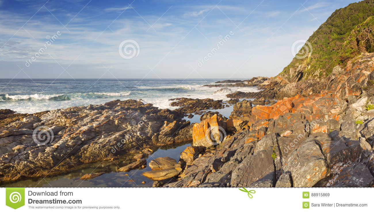 Rocky Coastline In Garden Route National Park, South Africa Stock ...