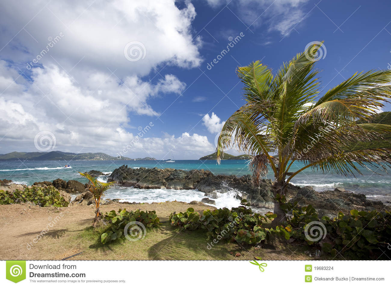 Rocky Coastline Of An Island In The Caribbean Stock Photo