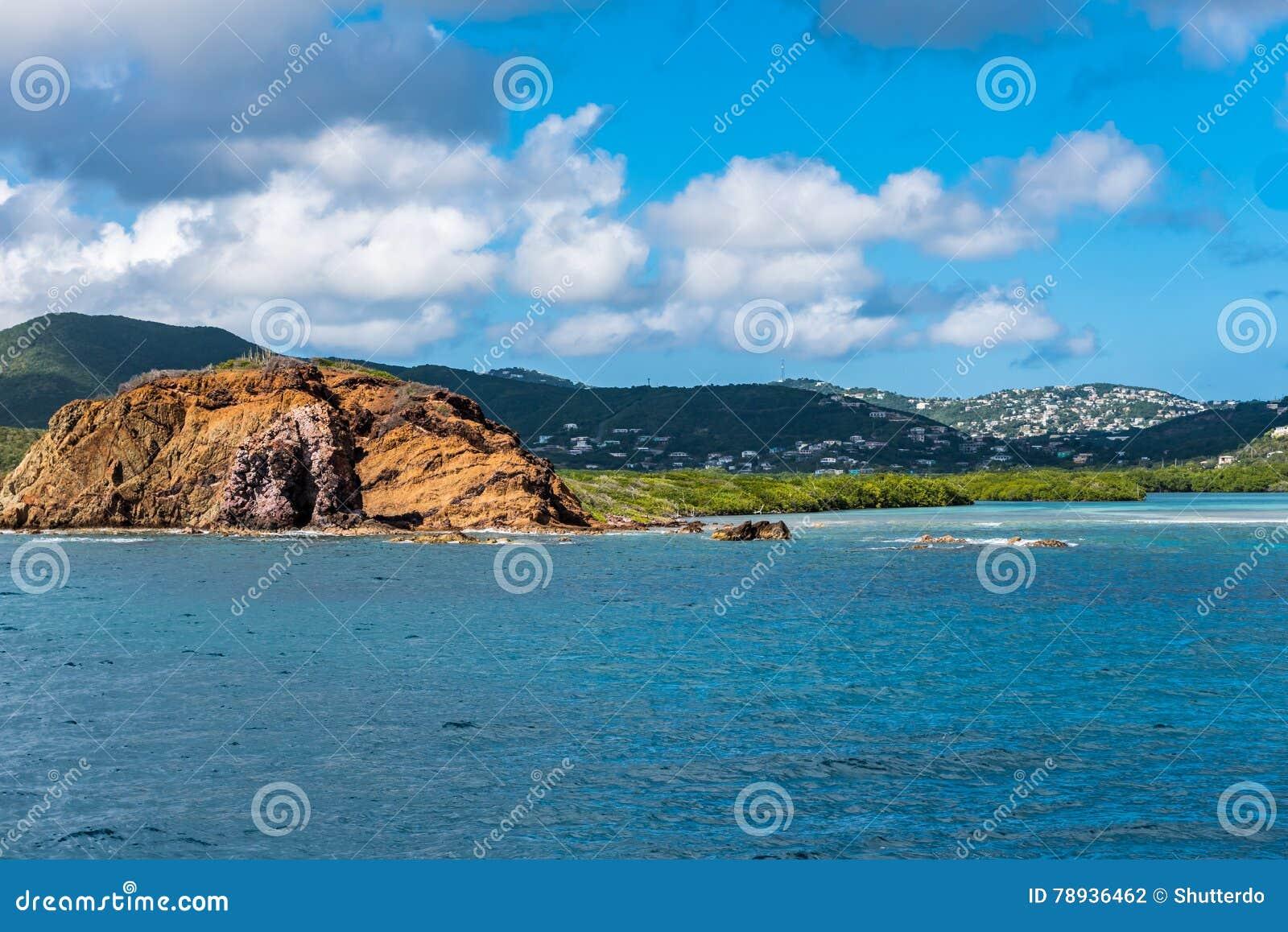 rocky coastline of st thomas island stock photo image of
