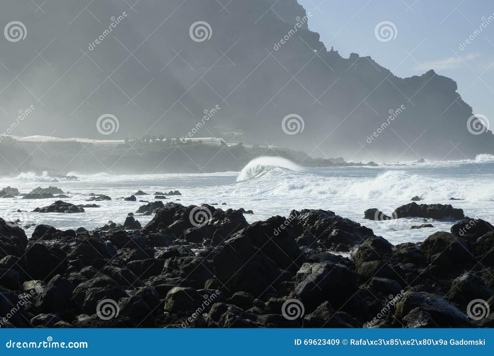 Rocky Costadel Buenavista-strand, Tenerife, Kanarie, Spanje