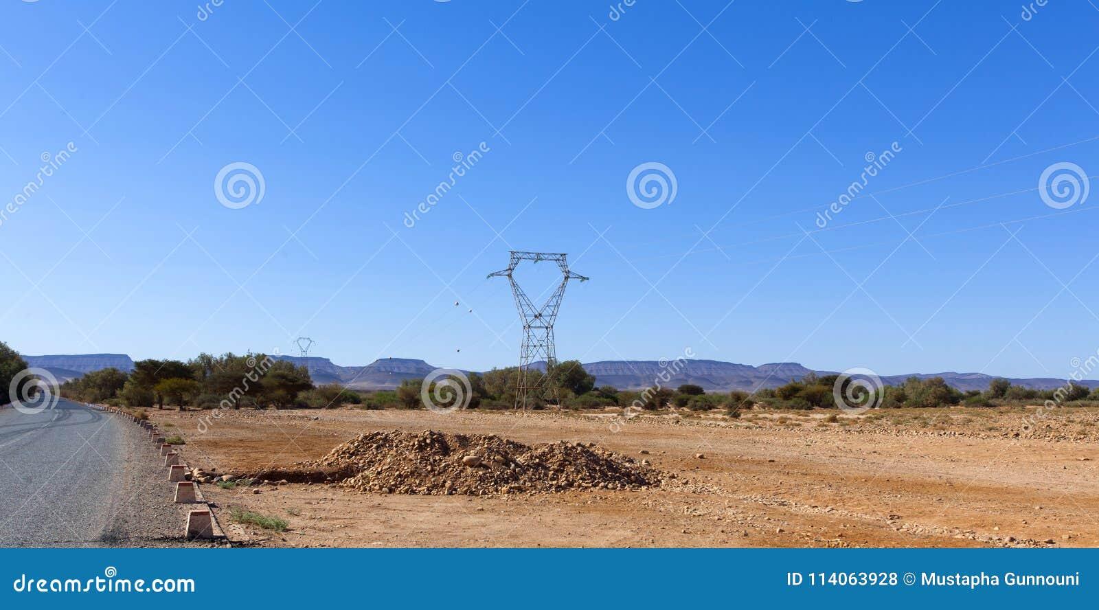Rocky desert, scenic desert landscape in Morocco,