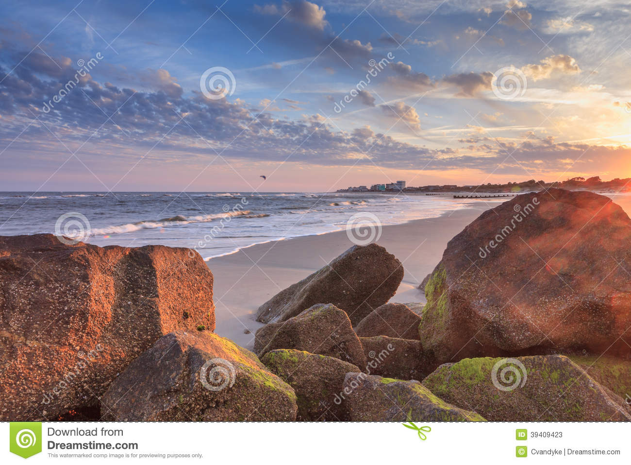 Rocky folly beach sunset south carolina sc stock photo for Nearby landscapers