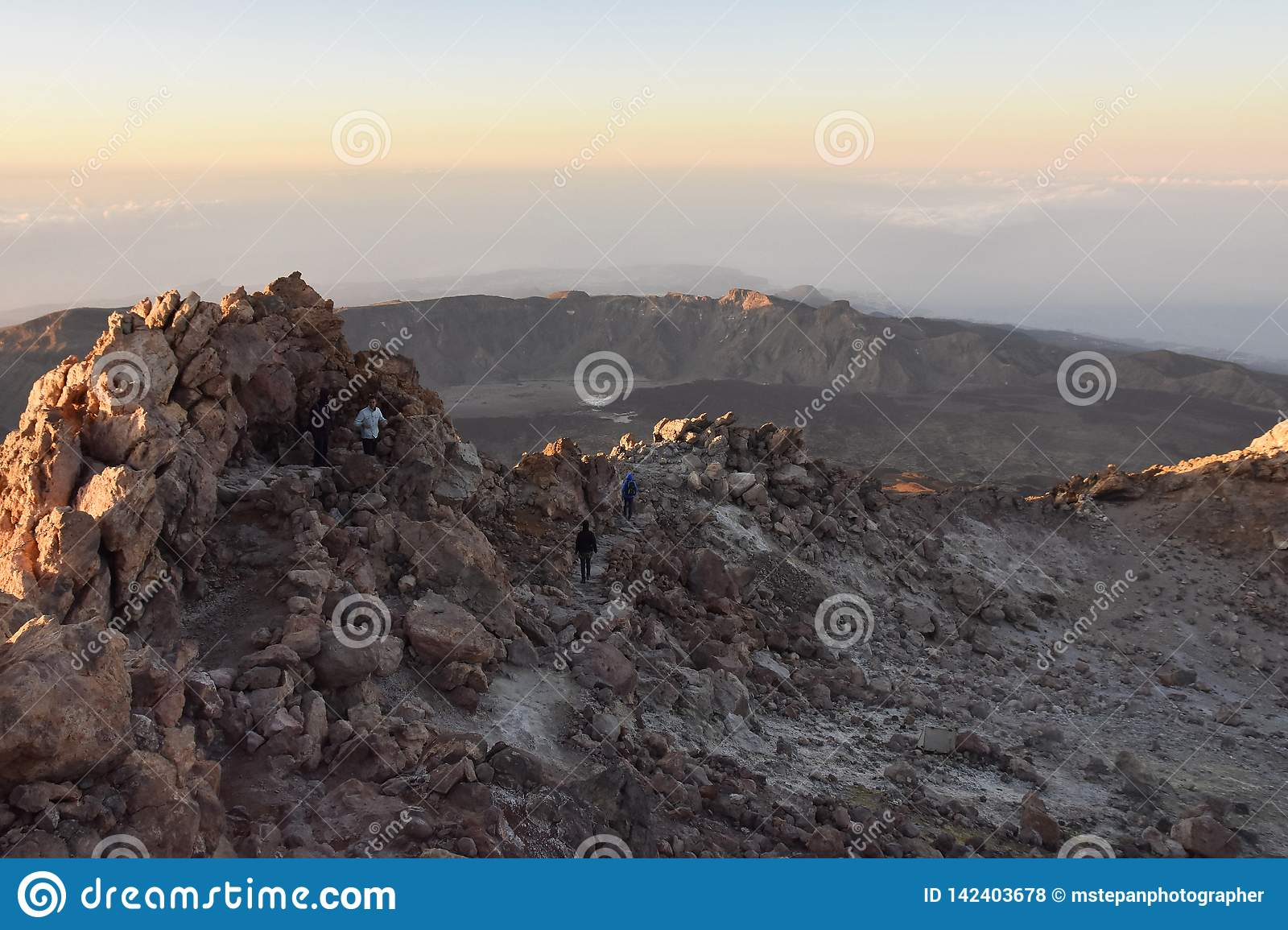 Rocky landscape Mount Teide summit National Park Tenerife