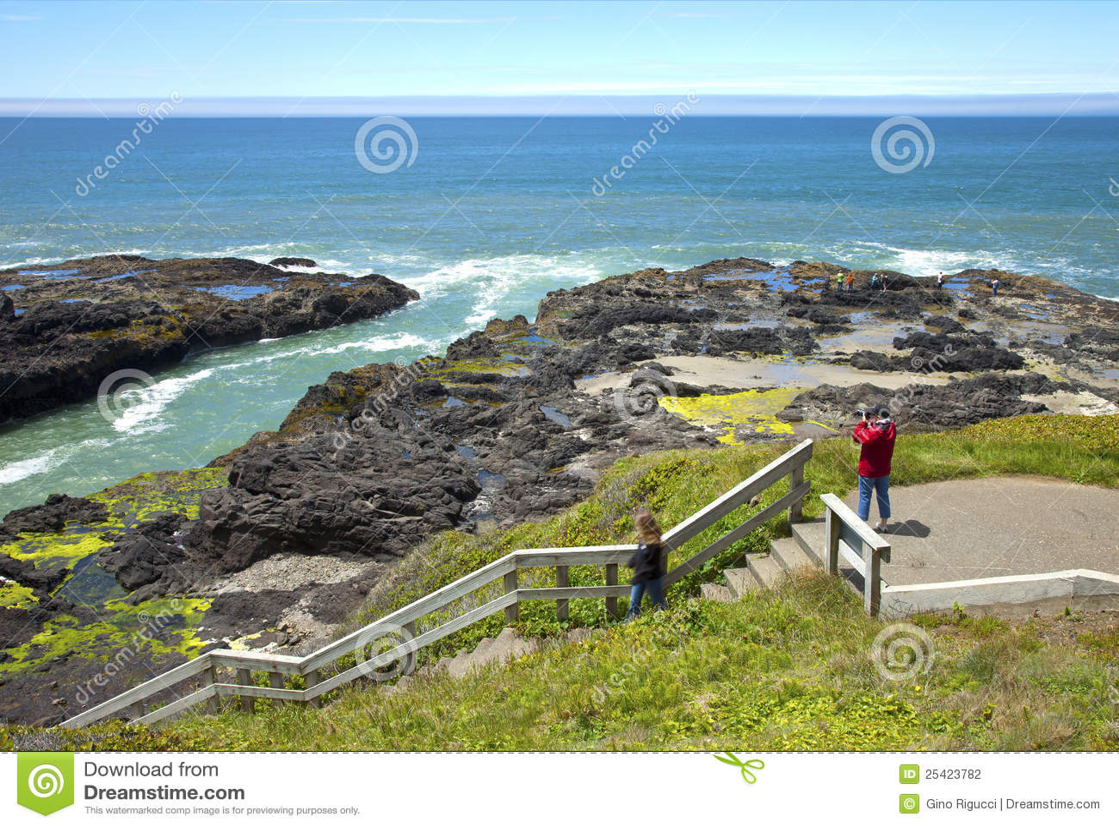 Rocky Lava Shoreline Oregon Coast Stock Photography