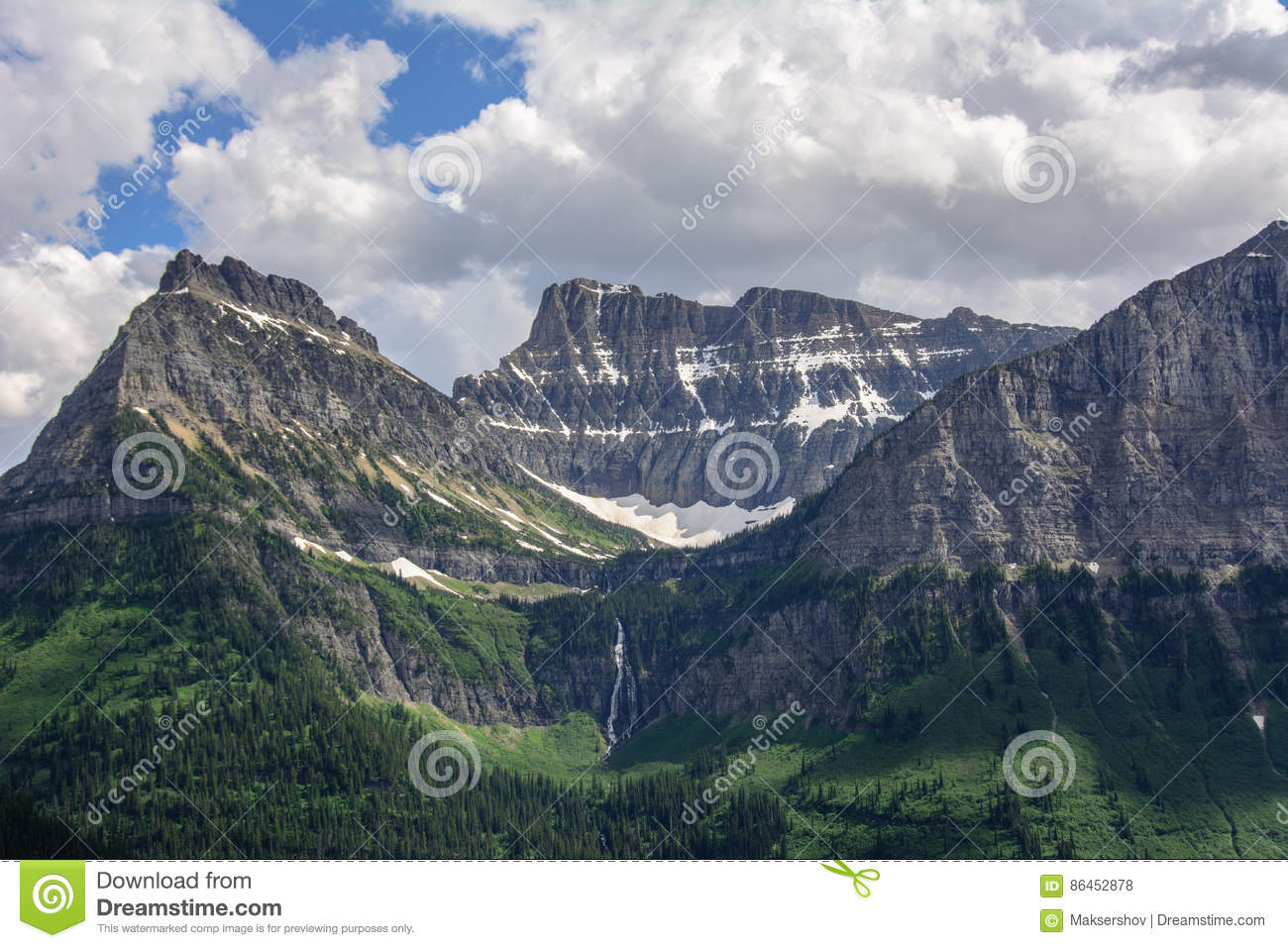Rocky mountain in Glacier National Park, Montana USA. Oberlin Mountain and Cannon Mountain