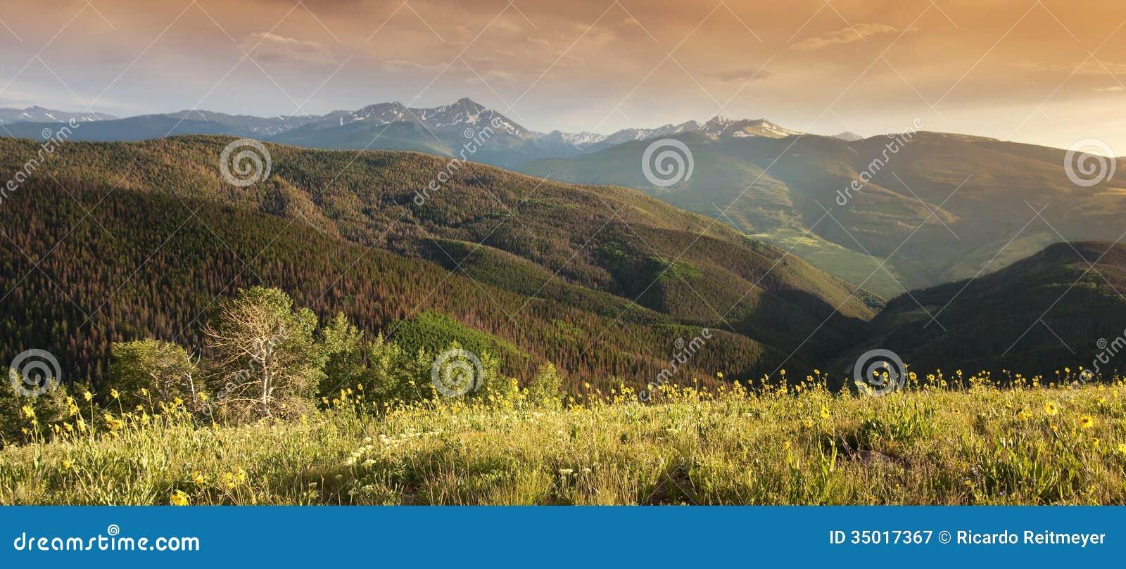 Rocky Mountain Peak View panoramico al tramonto Vail Colorado