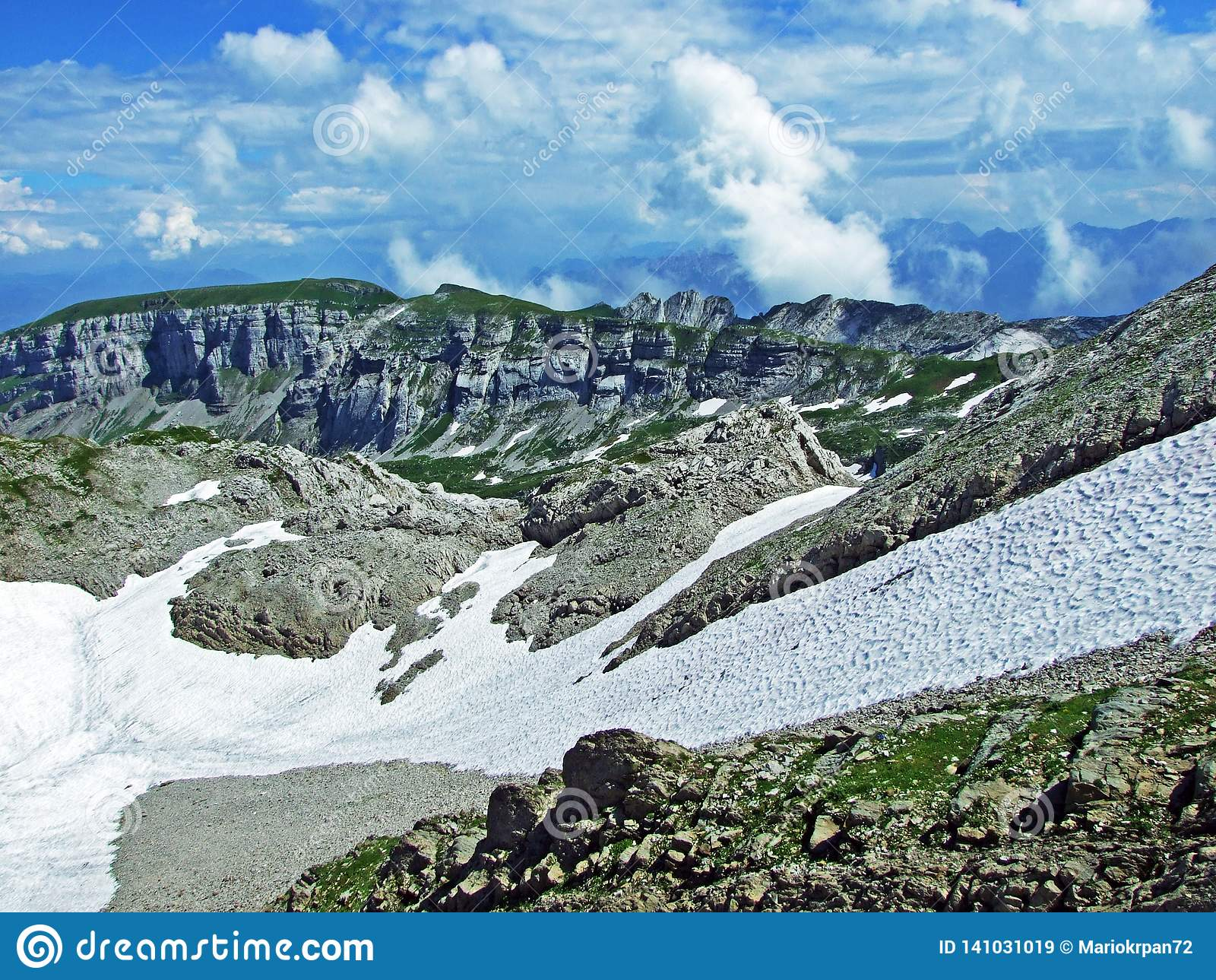 Rocky mountain ridge Roslenfirst and Saxer First in Alpstein mountain range