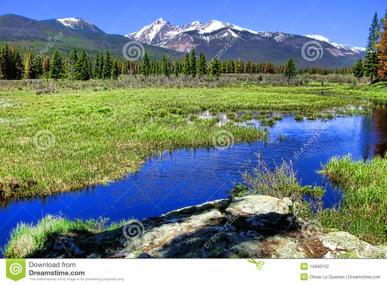 Rocky Mountain Scenic Panorama and River Landscape