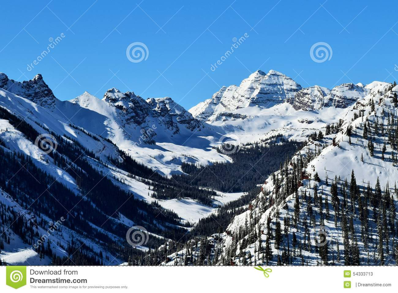 Rocky Mountains On Clear Winter Day Stock Photo Image 54333713