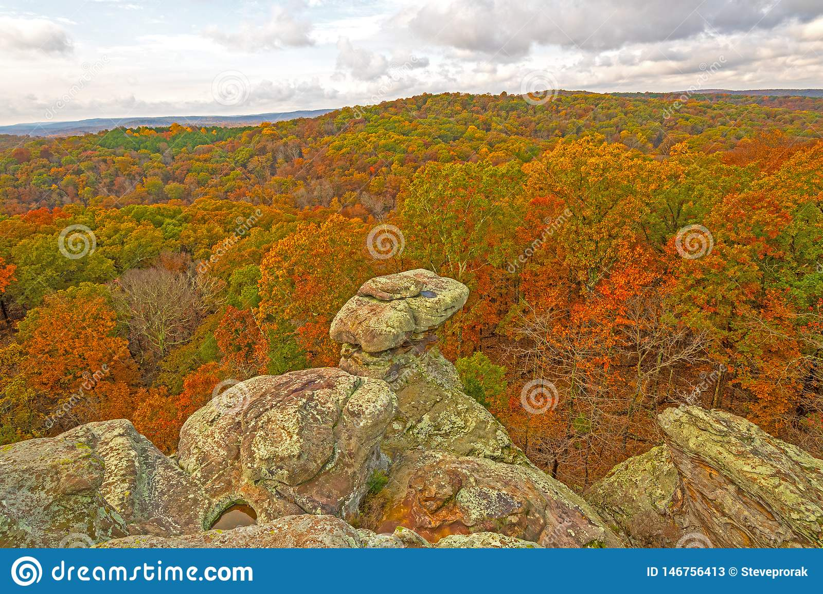Rocky Outcrop Above The Fall Forest Stock Image Image Of Pinnacle Dramatic 146756413