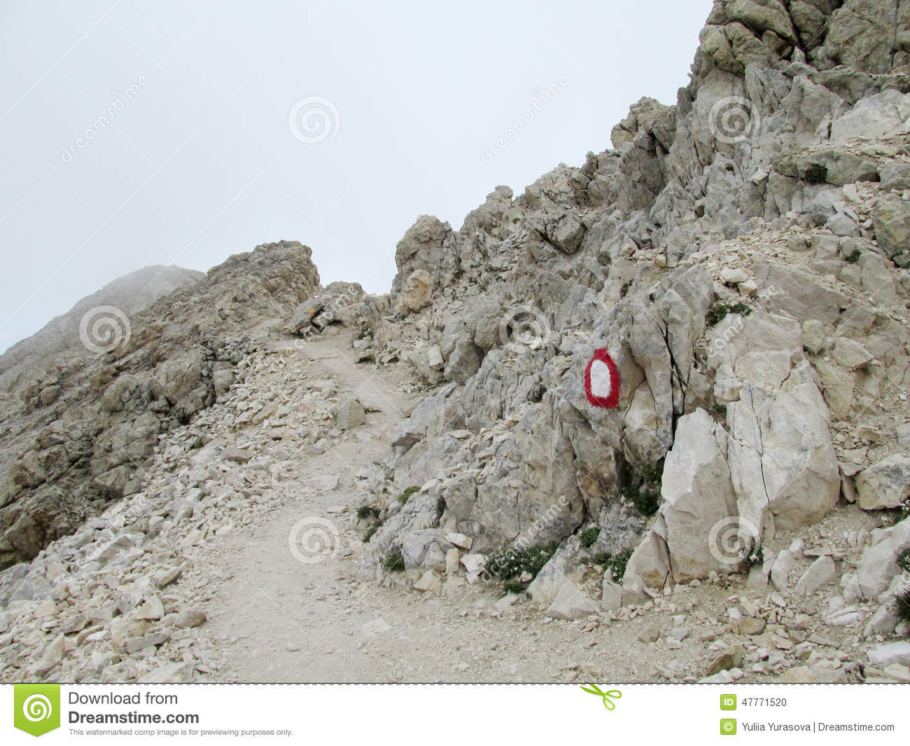 Rocky path in clouds in Apennine Mountain Range