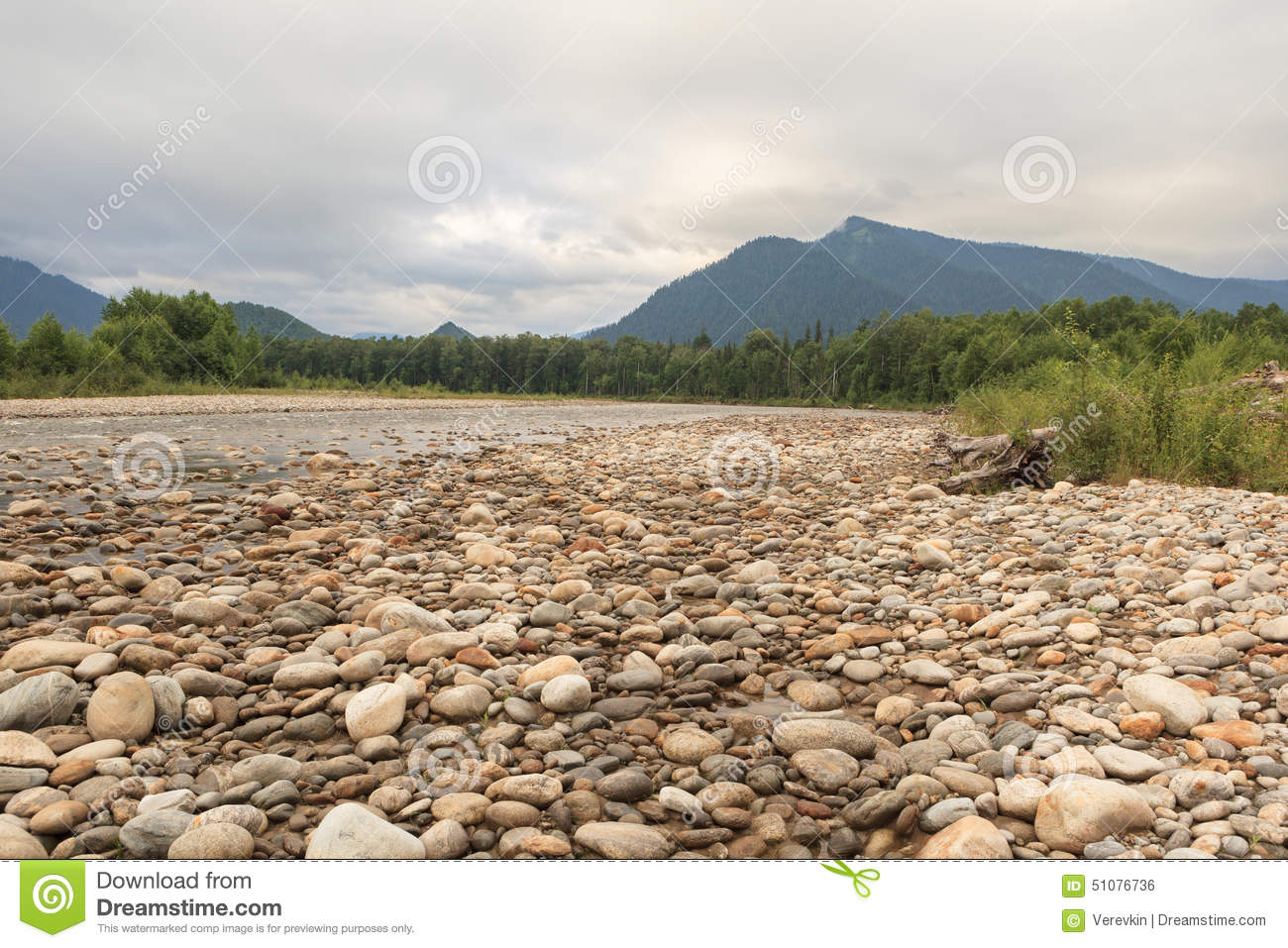 Rocky shore of the river.