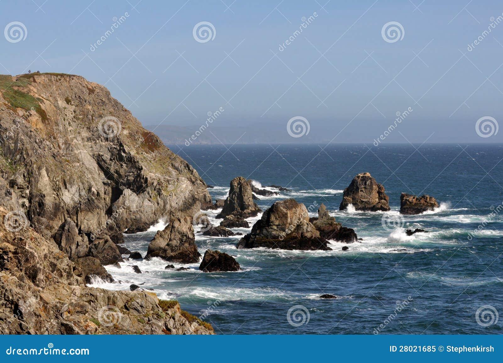 rocky shoreline on california coast royalty free stock