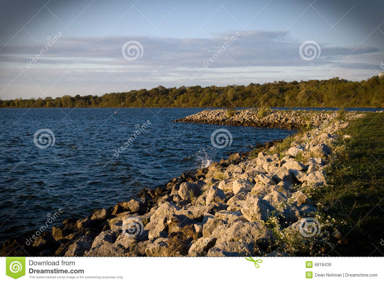 Rocky shoreline of reservoir