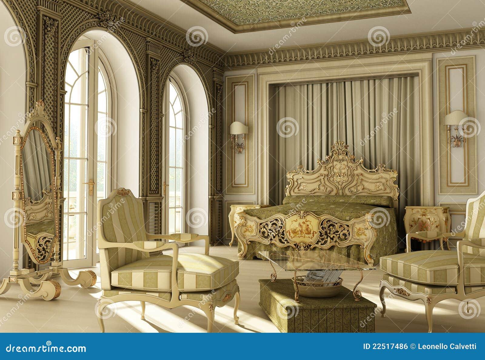 Rococo slaapkamer van de luxe. royalty vrije stock afbeelding ...