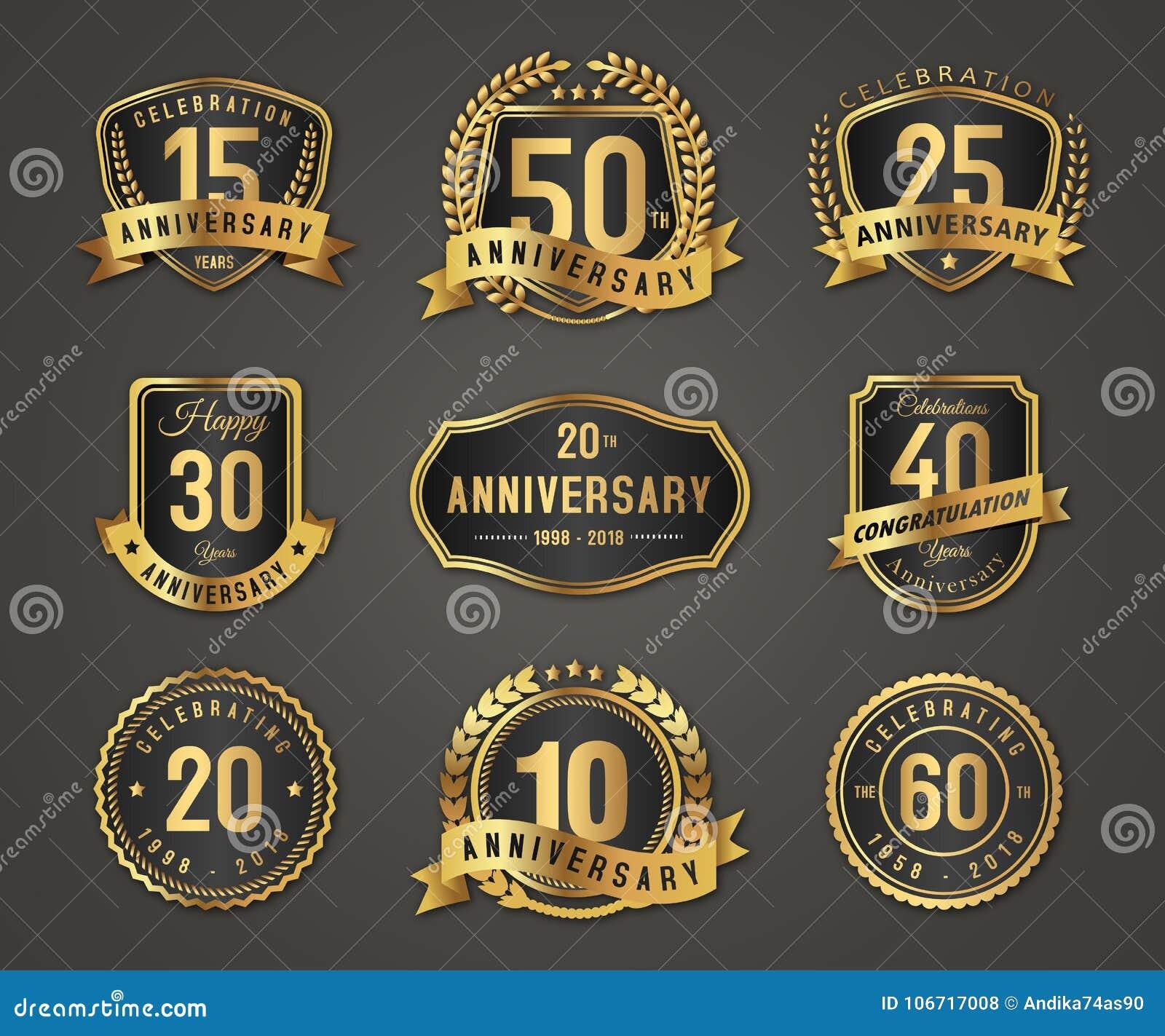 Rocznicowy złocisty odznaka logo z pełną liczbą