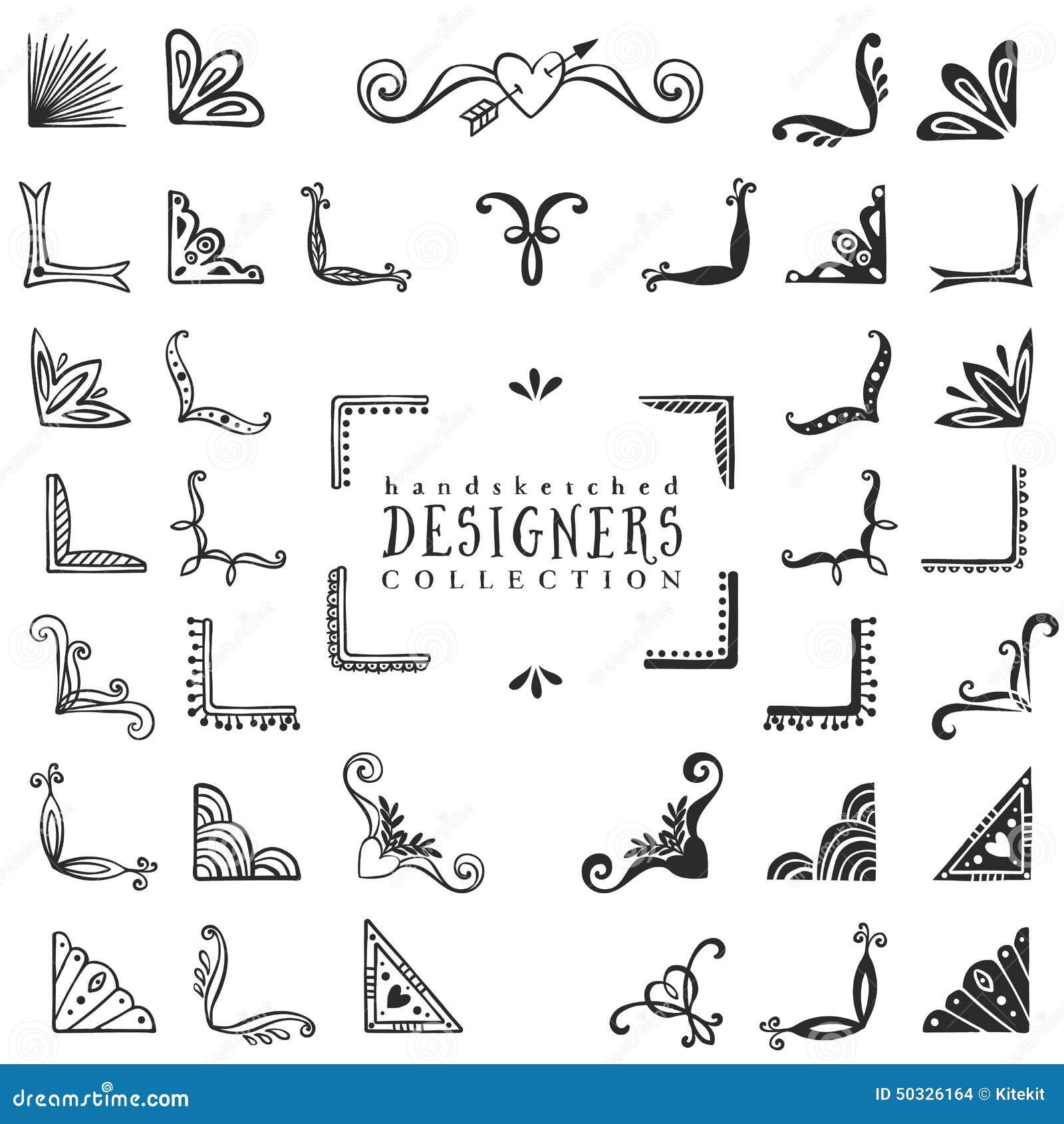 Roczników dekoracyjni kąty inkasowi Ręka rysujący wektorowy projekt