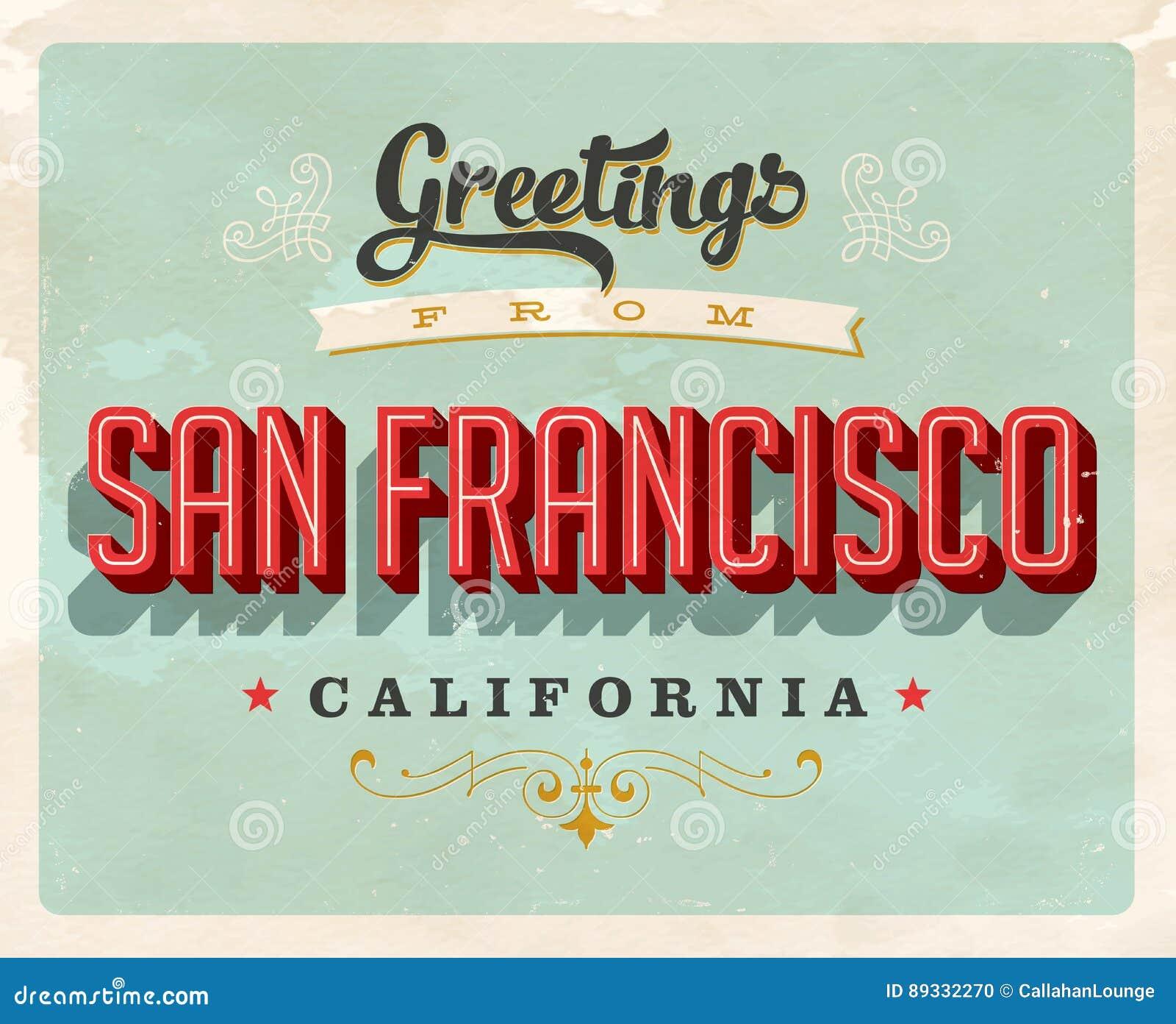 Roczników powitania od San Fransisco, Kalifornia urlopowa karta