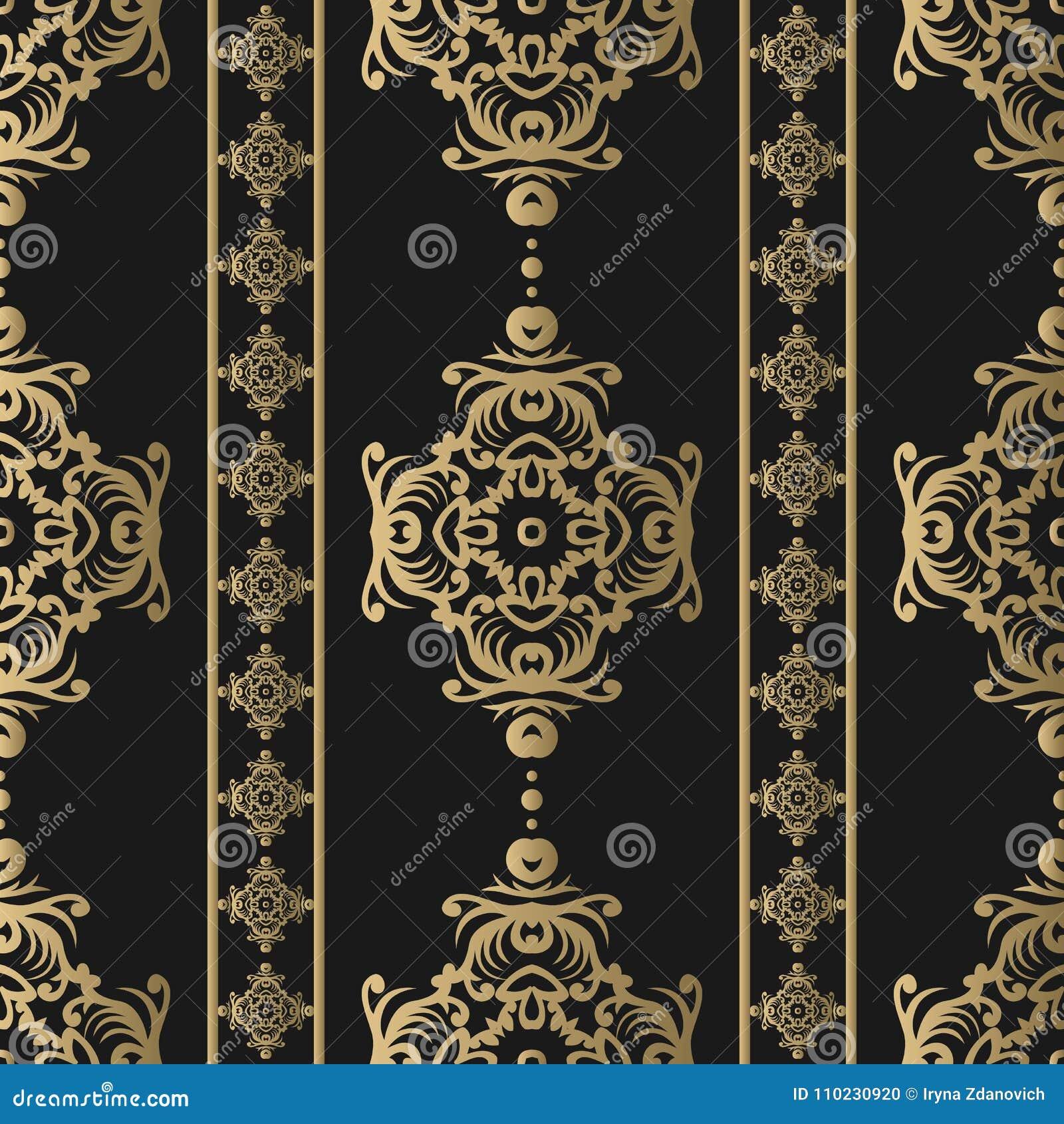 Rocznik bezszwowy wzoru Kwiecista ozdobna tapeta Ciemny wektoru adamaszka tło z dekoracyjnymi ornamentami i kwiatami w baroku